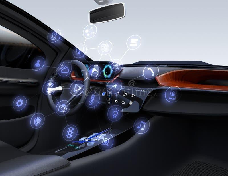 Διαδίκτυο της έννοιας πραγμάτων για τα αυτοκίνητα ελεύθερη απεικόνιση δικαιώματος
