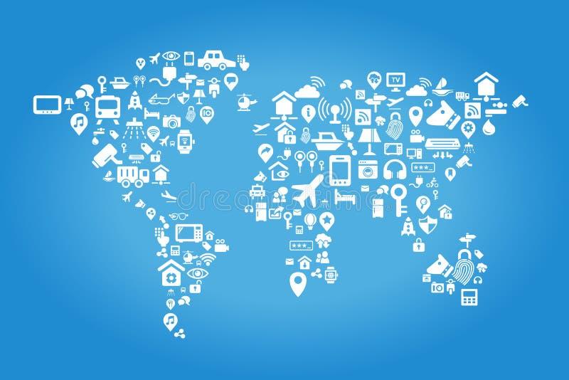 Διαδίκτυο της έννοιας πραγμάτων ελεύθερη απεικόνιση δικαιώματος