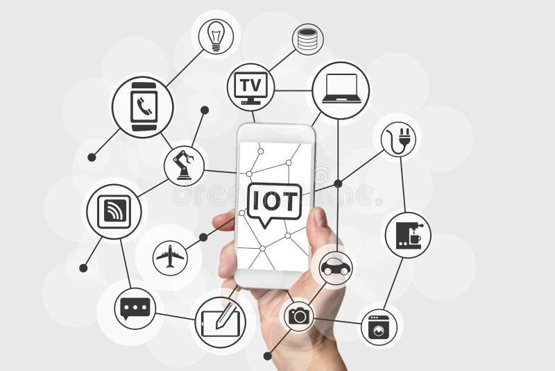Διαδίκτυο της έννοιας πραγμάτων (IOT) με το χέρι που κρατά το σύγχρονο άσπρο και ασημένιο έξυπνο τηλέφωνο ελεύθερη απεικόνιση δικαιώματος