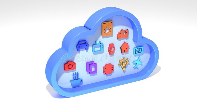 Διαδίκτυο του συμβόλου σύννεφων πραγμάτων IOT στο λευκό ελεύθερη απεικόνιση δικαιώματος