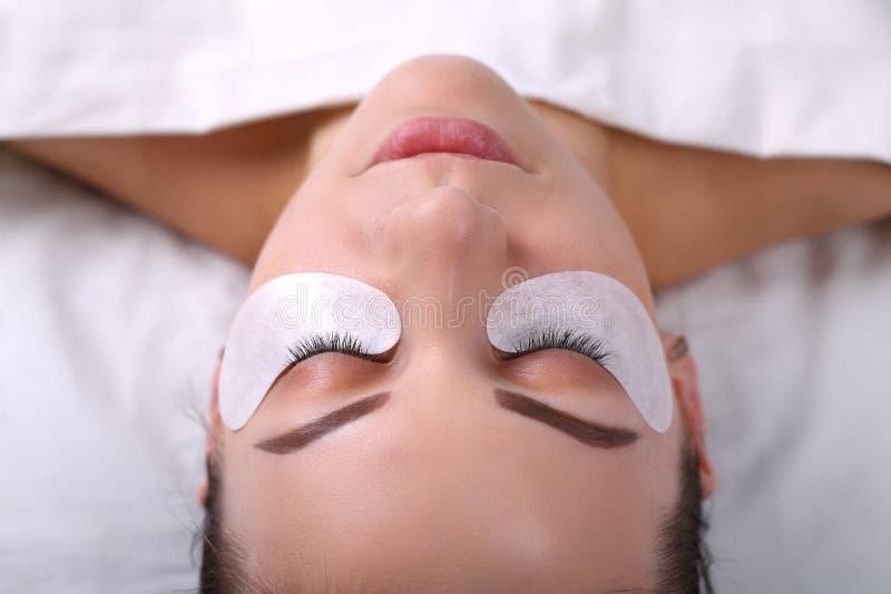 Διαδικασία επέκτασης Eyelash Μάτι γυναικών με τα μακροχρόνια eyelashes Τα μαστίγια, κλείνουν επάνω, μακρο, εκλεκτική εστίαση στοκ εικόνα