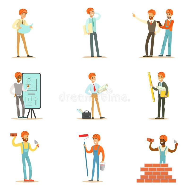 Διαδικασία κατασκευής σπιτιών αρχιτεκτόνων και εργατών οικοδομών από το πρόγραμμα στην οικοδόμηση του συνόλου απεικονίσεων διανυσματική απεικόνιση