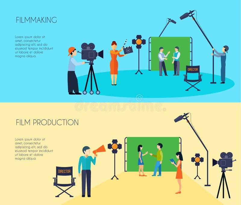 Διαδικασία 2 κινηματογραφίας επίπεδα οριζόντια εμβλήματα απεικόνιση αποθεμάτων