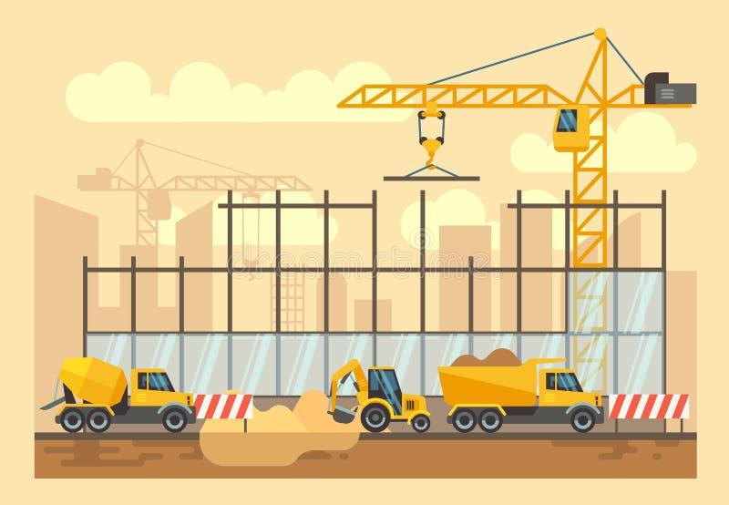Διαδικασία οικοδόμησης κτηρίου, εργαλεία εφαρμοσμένης μηχανικής, υλικά και διανυσματική επίπεδη απεικόνιση εξοπλισμού διανυσματική απεικόνιση