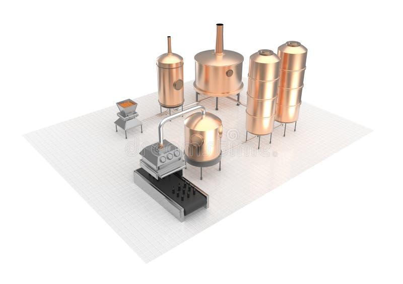 Διαδικασία παρασκευής μπύρας, παραγωγή, παραγωγή ζυθοποιείων απεικόνιση αποθεμάτων