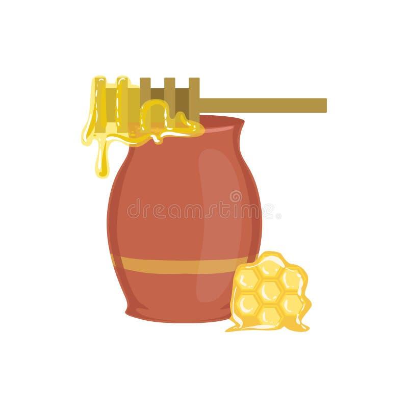 Διαδικασία ψησίματος βάζων μελιού και απομονωμένο εξοπλισμός στοιχείο κουζινών διανυσματική απεικόνιση