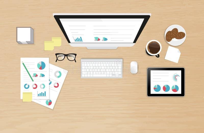 Διαδικασία Analytics στην άποψη υπολογιστών γραφείου εργασίας απεικόνιση αποθεμάτων