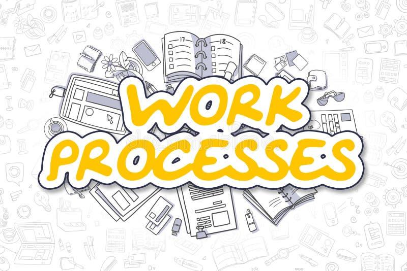Διαδικασίες εργασίας - Doodle το κίτρινο Word χρυσή ιδιοκτησία βασικών πλήκτρων επιχειρησιακής έννοιας που φθάνει στον ουρανό διανυσματική απεικόνιση