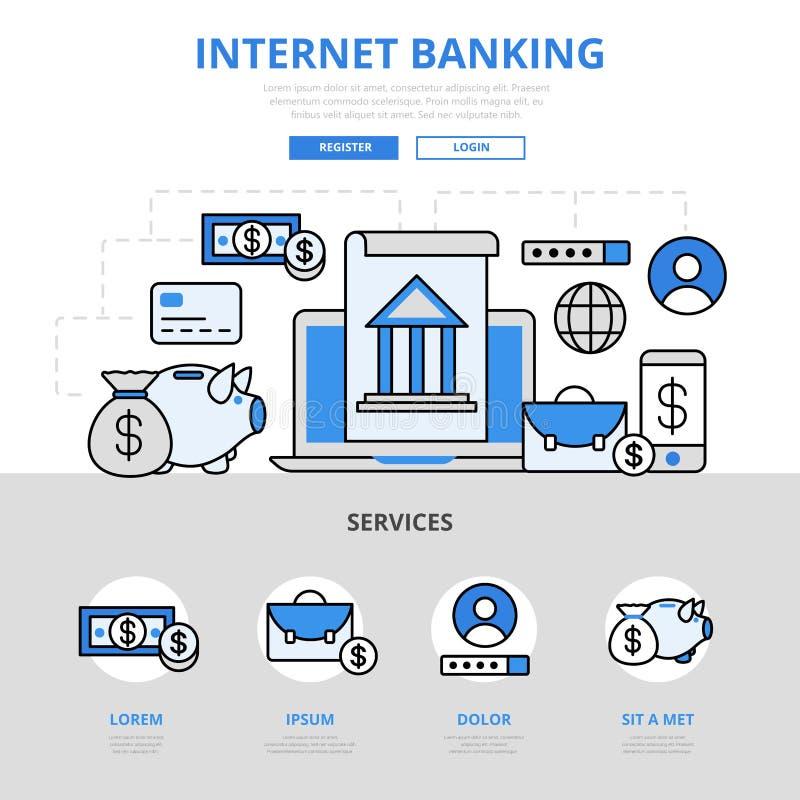 Διαδικτύου σε απευθείας σύνδεση διανυσματικά εικονίδια τέχνης γραμμών τραπεζικής έννοιας επίπεδα διανυσματική απεικόνιση