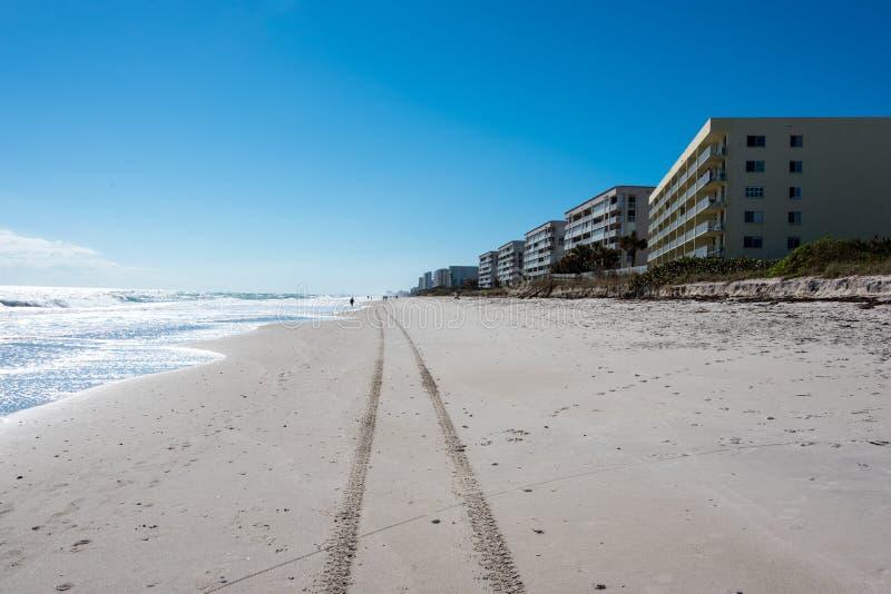 Διαδρομές ροδών στην παραλία στοκ εικόνες