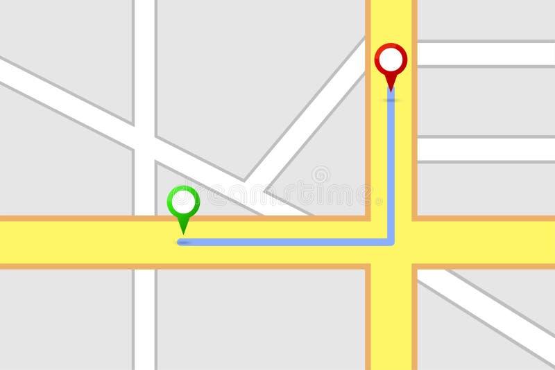 Διαδρομή προορισμού οδικών χαρτών ελεύθερη απεικόνιση δικαιώματος