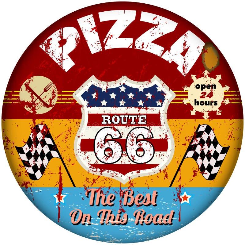 Διαδρομή 66 σημάδι pizzeria διανυσματική απεικόνιση