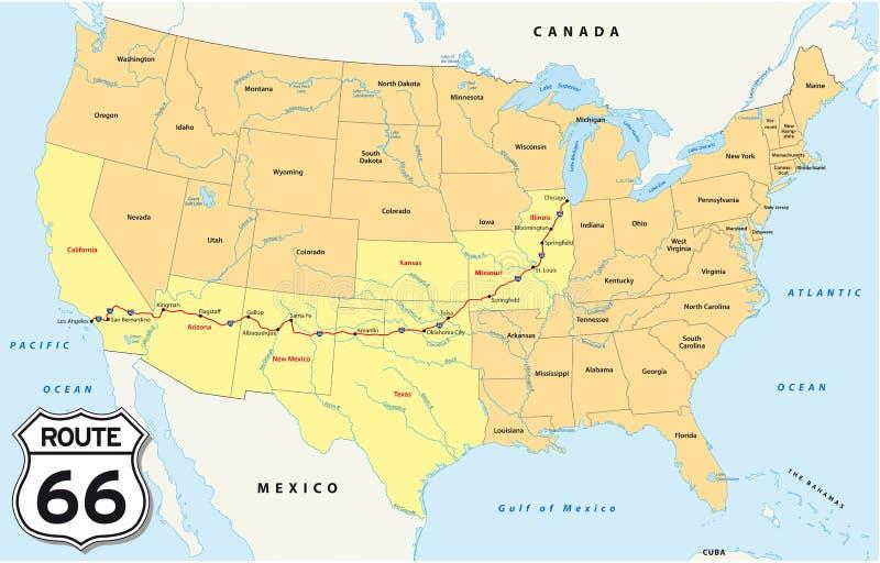 Διαδρομή 66 χάρτης ελεύθερη απεικόνιση δικαιώματος