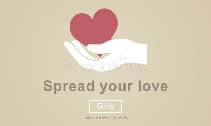 Διαδώστε τα χέρια βοηθείας αγάπης σας δίνει την έννοια διανυσματική απεικόνιση