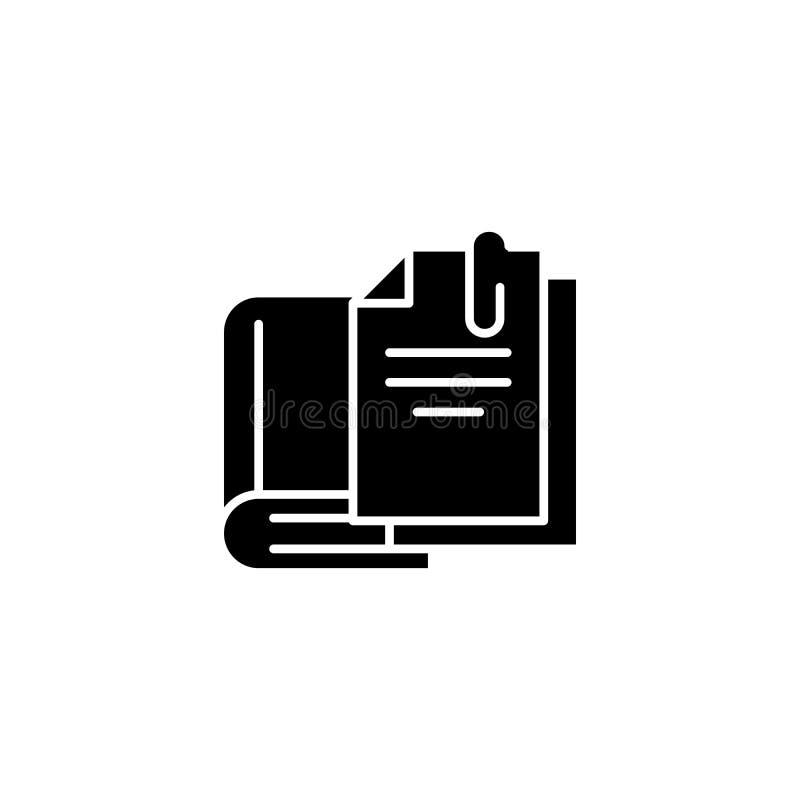 Διδακτική υλική μαύρη έννοια εικονιδίων Διδακτικό υλικό επίπεδο διανυσματικό σύμβολο, σημάδι, απεικόνιση ελεύθερη απεικόνιση δικαιώματος