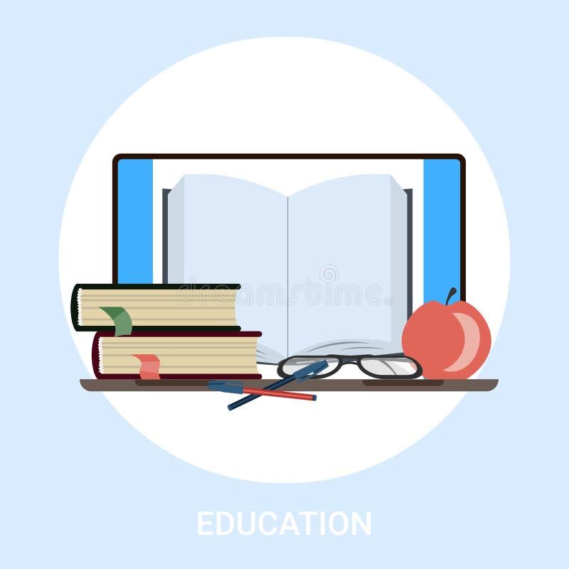 Διδακτικό και tablet ηλεκτρονικό εγχειρίδιο για την εκπαίδευση στη γνώση  διανυσματική απεικόνιση