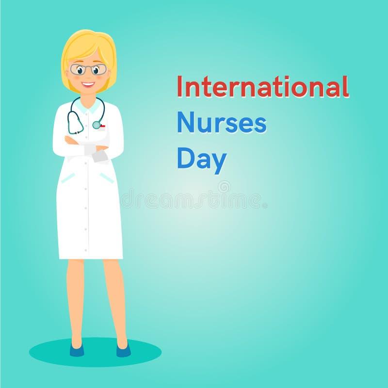 Διεθνές έμβλημα ή ιπτάμενο ημέρας νοσοκόμων διανυσματική απεικόνιση