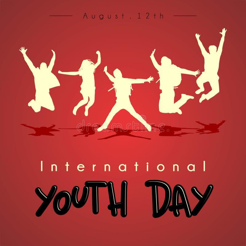 Διεθνές διανυσματικό σχέδιο ημέρας νεολαίας διανυσματική απεικόνιση