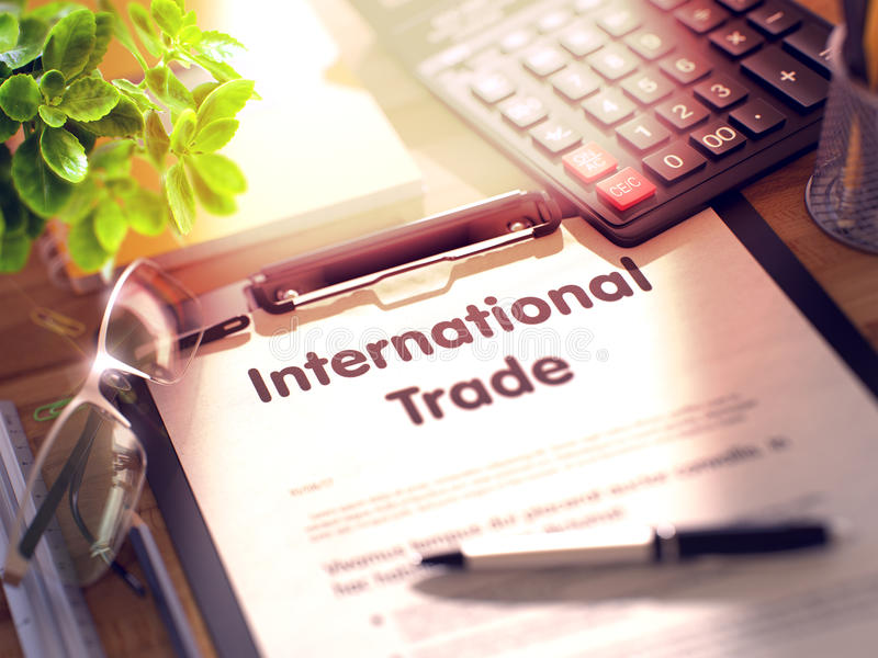 Διεθνές εμπόριο - κείμενο στην περιοχή αποκομμάτων τρισδιάστατος διανυσματική απεικόνιση
