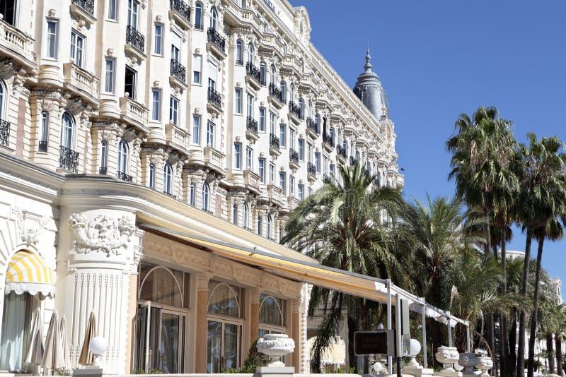 Διεθνές ξενοδοχείο Κάννες Γαλλία, εστιατόριο, μπροστινή άποψη του Carlton στοκ εικόνα