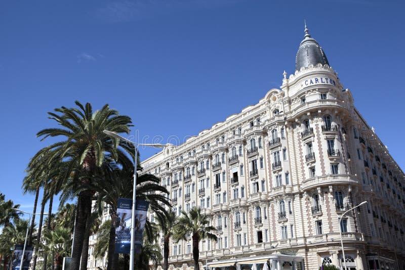 Διεθνές ξενοδοχείο του Carlton, Κάννες Γαλλία στοκ φωτογραφία με δικαίωμα ελεύθερης χρήσης