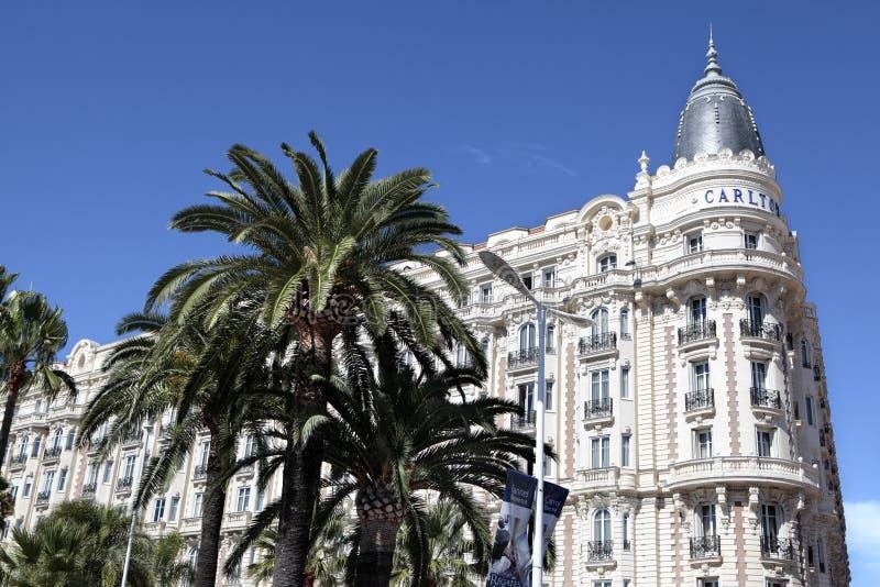 Διεθνές ξενοδοχείο του Carlton, croisette Γαλλία των Καννών στοκ φωτογραφία