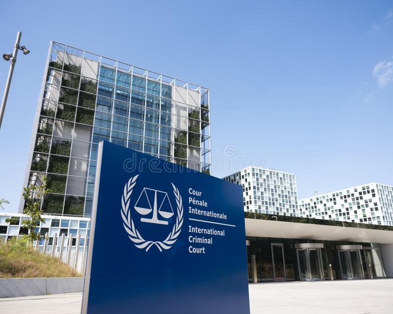 Διεθνές Ποινικό Δικαστήριο στη Χάγη κάτω από το μπλε ουρανό το καλοκαίρι στοκ εικόνες με δικαίωμα ελεύθερης χρήσης