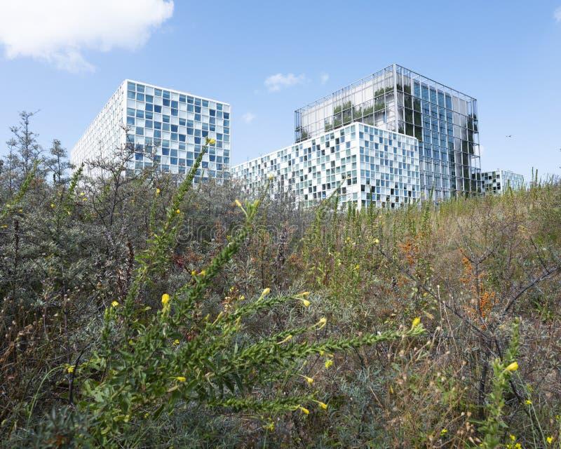 Διεθνές Ποινικό Δικαστήριο στη Χάγη κάτω από το μπλε ουρανό το καλοκαίρι στοκ εικόνες