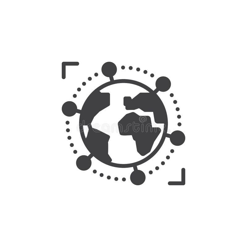 Διεθνές, σφαιρικό διανυσματικό, γεμισμένο επίπεδο σημάδι επιχειρησιακών εικονιδίων, στερεό εικονόγραμμα που απομονώνεται στο λευκ ελεύθερη απεικόνιση δικαιώματος