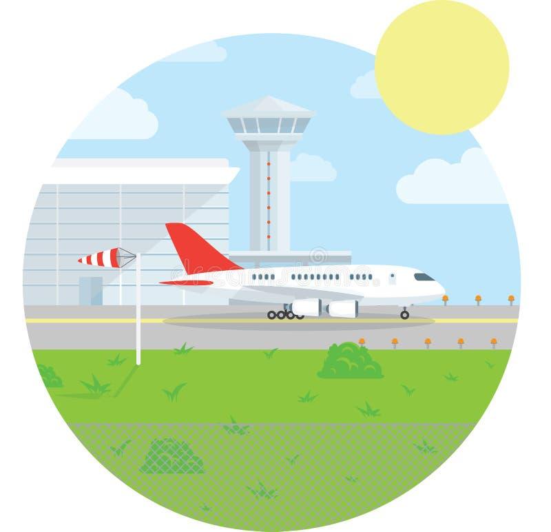 Διεθνές τοπίο αερολιμένων Επίπεδο σχέδιο ύφους η ανασκόπηση ανθίζει το φρέσκο διάνυσμα γάλακτος φύλλων απεικόνισης διανυσματική απεικόνιση