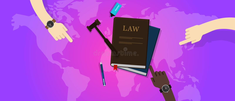 Διεθνές gavel δικαιοσύνης νόμου νομικό σφαιρικό παγκόσμιο δικαστήριο απεικόνιση αποθεμάτων