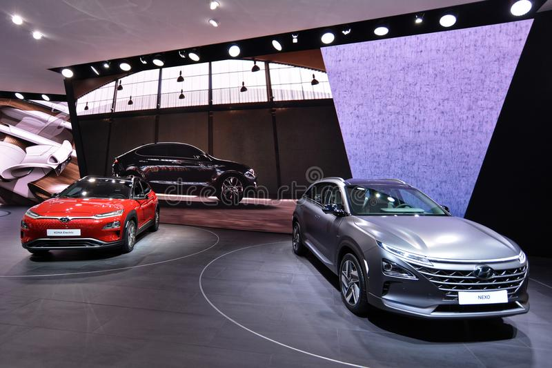 διεθνής έκθεση αυτοκινήτου 2018 της 88ης Γενεύης - άποψη στάσεων της Hyundai στοκ φωτογραφίες