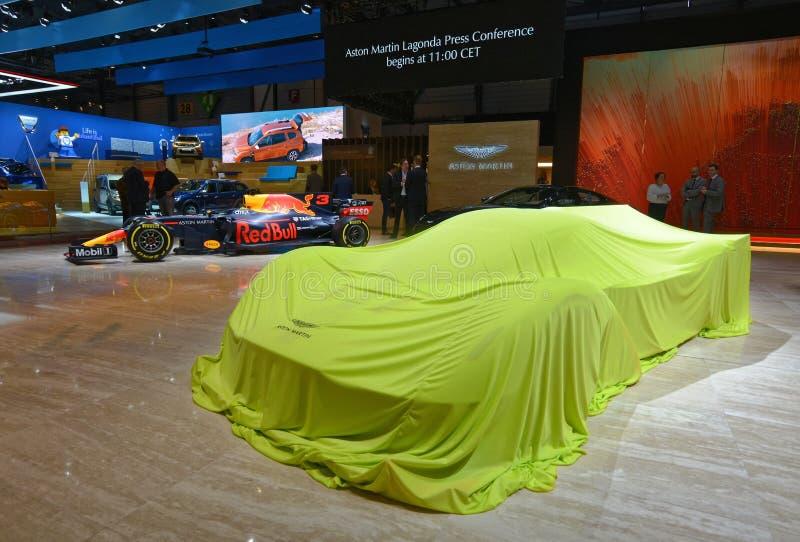 διεθνής έκθεση αυτοκινήτου 2018 της 88ης Γενεύης - Άστον Martin Valkyrie AMR υπέρ καλυμμένο Hypercar στοκ εικόνες