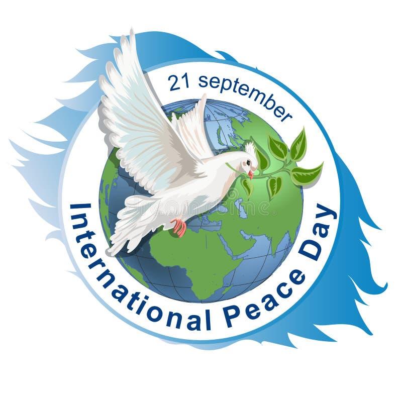 Διεθνής έννοια ημέρας ειρήνης επίσης corel σύρετε το διάνυσμα απεικόνισης άσπρο περιστέρι με τον κλάδο και το σημάδι της ειρήνευσ ελεύθερη απεικόνιση δικαιώματος