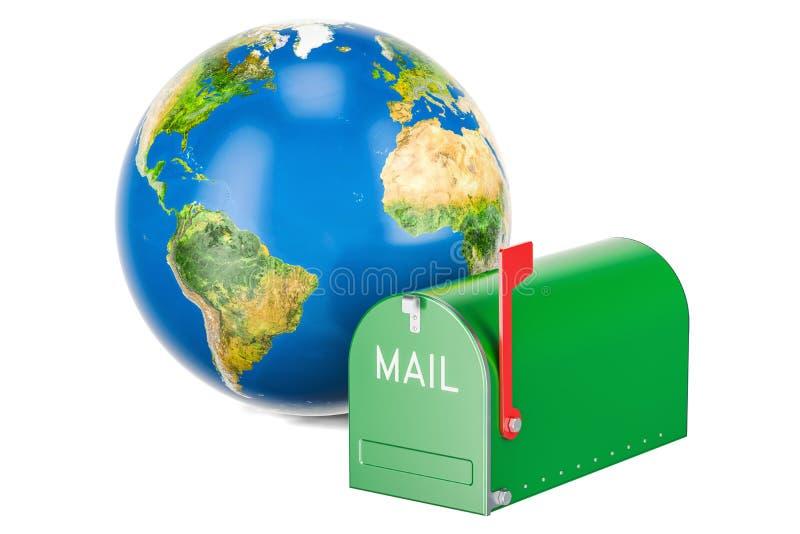 Διεθνής έννοια υπηρεσιών ταχυδρομείου διανυσματική απεικόνιση