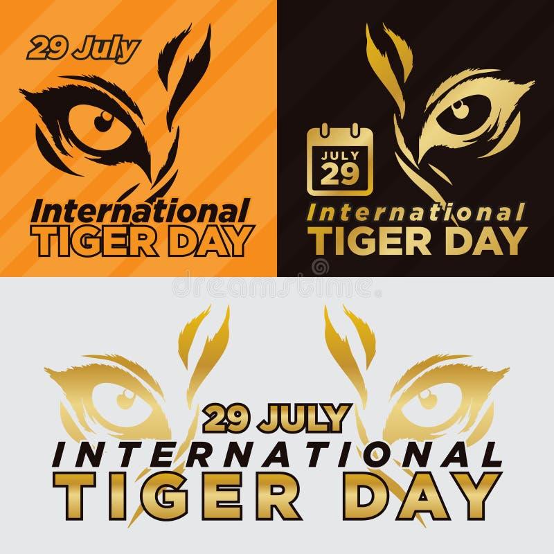 Διεθνής απεικόνιση αφισών ημέρας τιγρών 29 Ιουλίου r Διανυσματική κάρτα με το απομονωμένο fla ελεύθερη απεικόνιση δικαιώματος