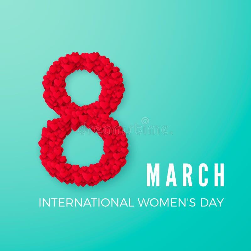 Διεθνής ευτυχής έννοια εορτασμού ημέρας γυναικών ` s με το μοντέρνο διακοσμημένο καρδιά στις 8 Μαρτίου κειμένων στο τυρκουάζ υπόβ ελεύθερη απεικόνιση δικαιώματος