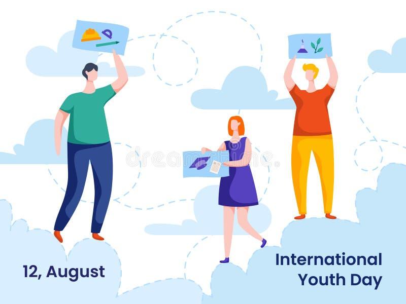 Διεθνής ζωηρόχρωμη διανυσματική απεικόνιση ημέρας νεολαίας με το σύνολο νέων των σχεδίων και των ιδεών ελεύθερη απεικόνιση δικαιώματος