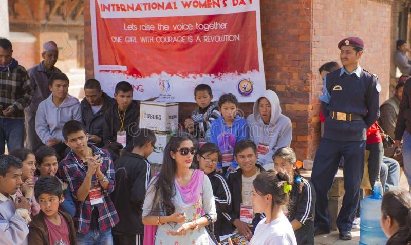 Διεθνής ημέρα γυναικών ` s, Κατμαντού, Νεπάλ, το Μάρτιο του 2014 στοκ φωτογραφία