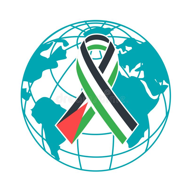 Διεθνής ημέρα εικονιδίων της αλληλεγγύης με το παλαιστινιακό Peop απεικόνιση αποθεμάτων