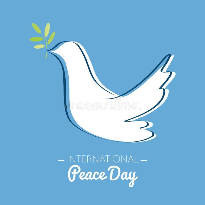 Διεθνής ημέρα ειρήνης με το σχέδιο ενός περιστεριού με το κλαδί ελιάς διανυσματική απεικόνιση