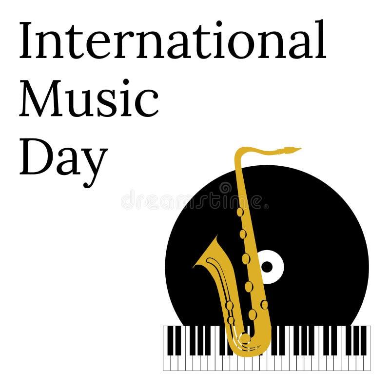 Διεθνής ημέρα μουσικής 1 Οκτωβρίου Πολιτιστικές διακοπές Πιάνο πληκτρολογίων, βινυλίου αρχείο και saxophone απεικόνιση αποθεμάτων