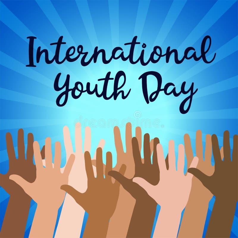 Διεθνής ημέρα νεολαίας, στις 12 Αυγούστου, συρμένη χέρι διανυσματική απεικόνιση σκίτσων ελεύθερη απεικόνιση δικαιώματος