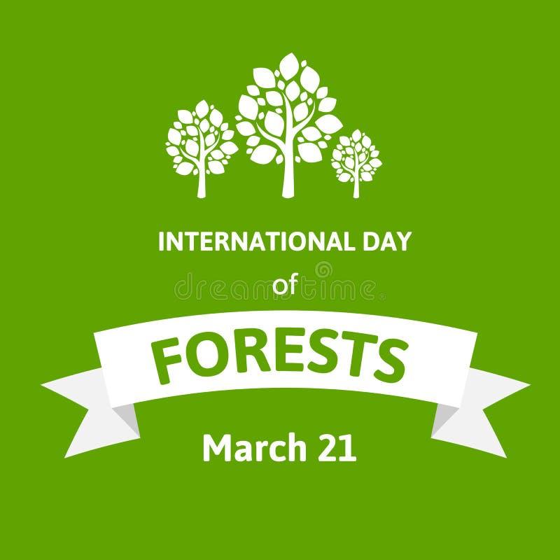 Διεθνής ημέρα των δασών Διανυσματική ευχετήρια κάρτα απεικόνισης με το δέντρο Επίπεδο σχέδιο ύφους με τα άσπρα δέντρα σε πράσινο απεικόνιση αποθεμάτων