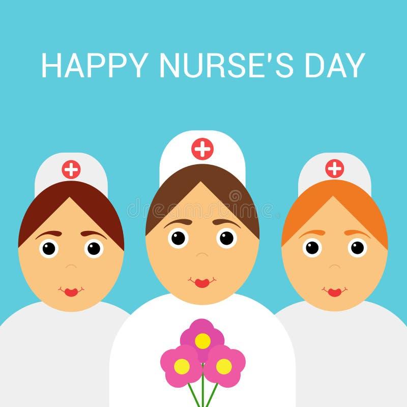 Διεθνής ημέρα των νοσοκόμων Εορταστική ευχετήρια κάρτα αφίσα απεικόνιση αποθεμάτων