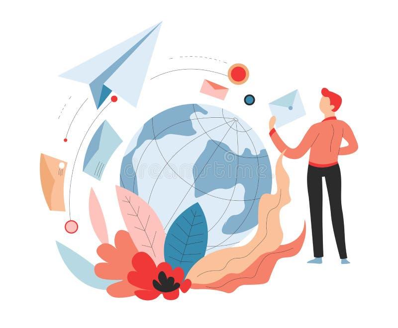 Διεθνής θέση υπηρεσιών παράδοσης ή εναέρια μεταφορά ταχυδρομείου απεικόνιση αποθεμάτων