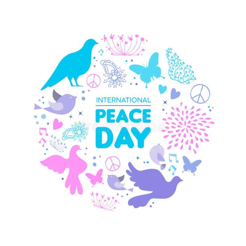 Διεθνής κάρτα εικονιδίων πουλιών περιστεριών ημέρας ειρήνης διανυσματική απεικόνιση