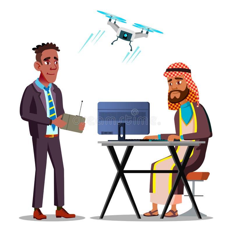 Διεθνής κατασκοπεία Ο επιχειρηματίας αφροαμερικάνων προωθεί έναν πετώντας κηφήνα πέρα από την αραβική συνεδρίαση επιχειρηματιών σ ελεύθερη απεικόνιση δικαιώματος