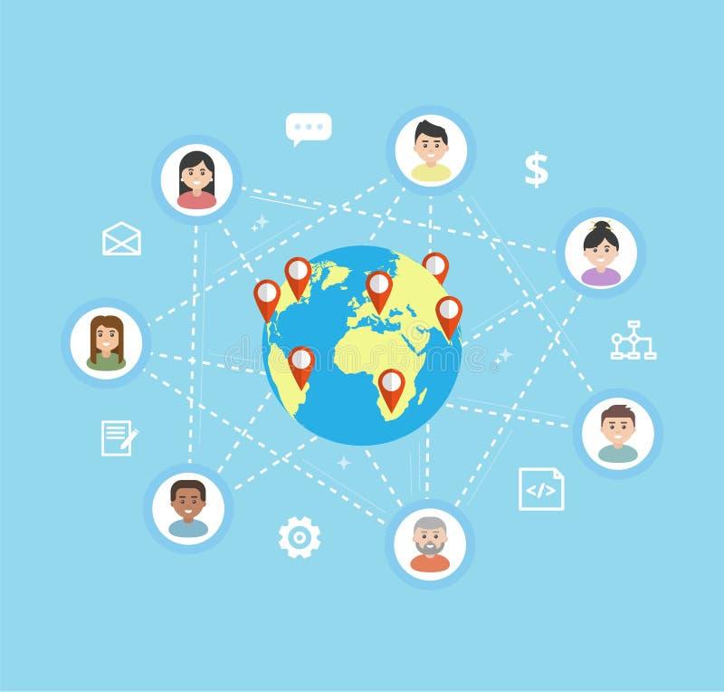 Διεθνής ομαδική εργασία - διανυσματική επίπεδη απεικόνιση ελεύθερη απεικόνιση δικαιώματος