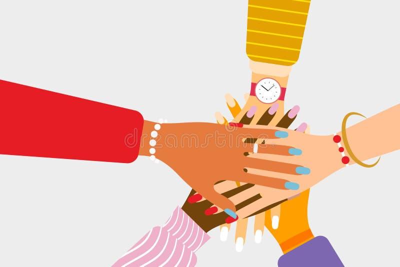 Διεθνής ομαδική εργασία και ιδέα φιλίας διανυσματική απεικόνιση